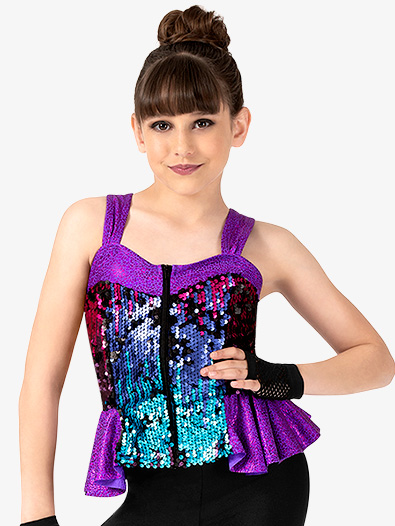 Girls Performance Sequin Peplum Tank Top - Style No N7814C