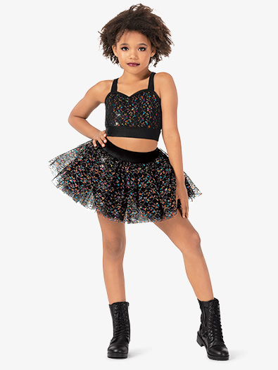 Girls Performance Glitter Lace Tutu Skirt - Style No N7815C