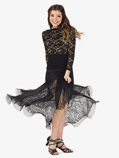 Womens Lace Insert Long Ballroom Skirt - Style No N7832