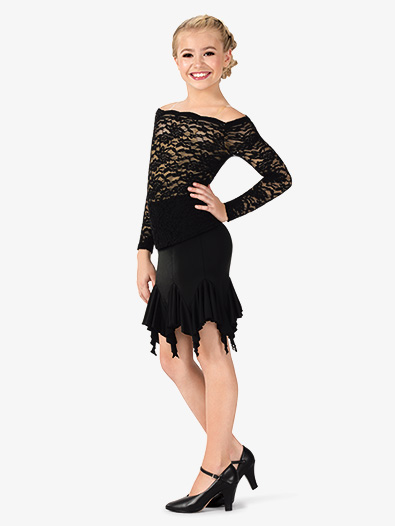 Girls Ruffle Hem Mini Ballroom Skirt - Style No N7835C