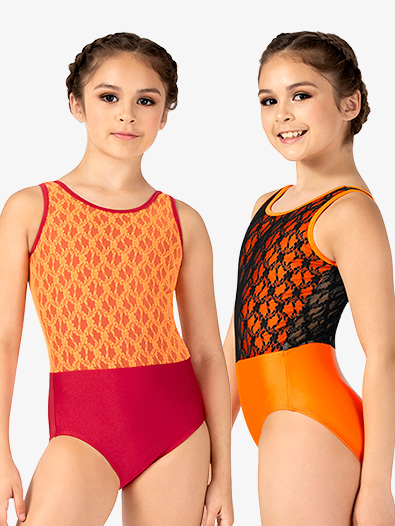 Girls Contrast Lace Tank Leotard - Style No N7841C