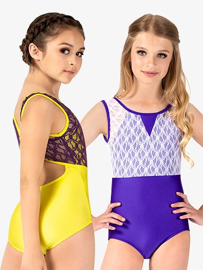 Girls Two-Tone Lace Tank Leotard - Style No N7842C