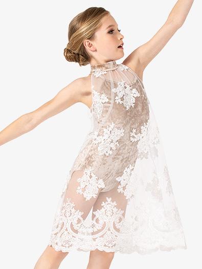 Girls Performance Sheer Floral Mesh Dress - Style No N7843C