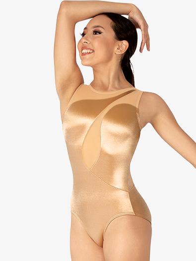 Womens Performance Satin Asymmetrical Swirl Tank Leotard - Style No N7851