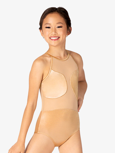 Girls Performance Satin Asymmetrical Halter Leotard - Style No N7854C