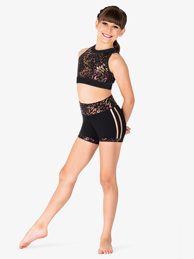 Girls Metallic High Waist Dance Shorts - Style No N7859C