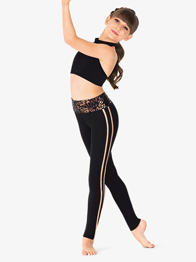 Girls Metallic High Waist Dance Leggings - Style No N7860C