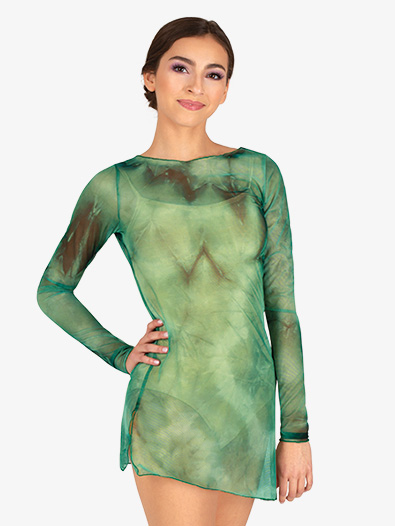 Womens Tie-Dye Long Sleeve Dance Tunic Dress - Style No N7861