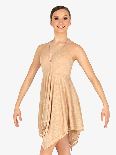 Womens Glitter Halter Lyrical Dress - Style No N7865