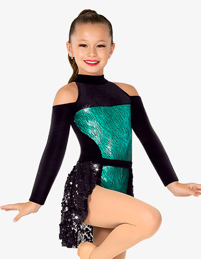 Girls Performance Long Sleeve Velvet Leotard and Skirt Set - Style No N7925C