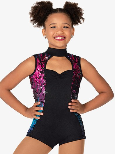 Girls Sequin Performance Biketard - Style No N7939C