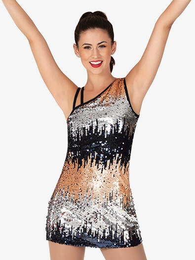 Womens Performance Asymmetrical Sequin Tank Dress - Style No N7940