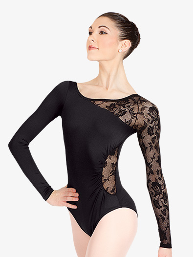 Adult Long Sleeve Leotard with Lace Sleeve and Insert - Style No N8650x