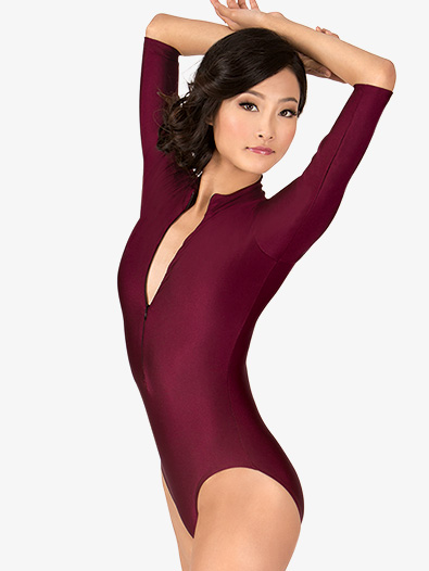 Adult 3/4 Sleeve Zip Front Leotard - Style No N8733