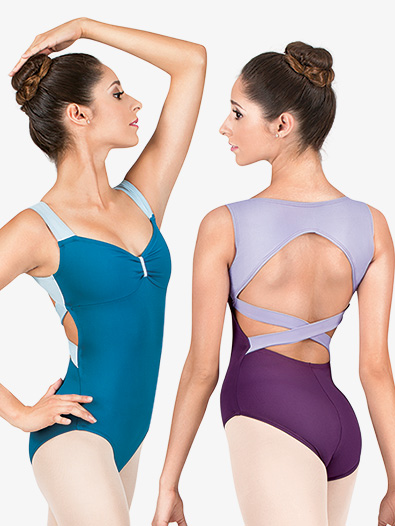 Adult Two-Tone Crisscross Back Tank Leotard - Style No N8826x
