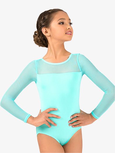 Girls Mesh Long Sleeve Leotard - Style No N9006C