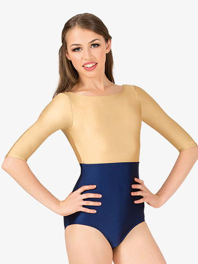 Womens Nylon Boatneck 3/4 Sleeve Leotard - Style No N9017x
