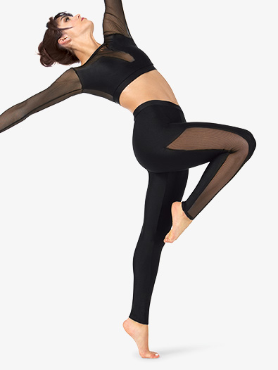 Womens Striped Mesh Dance Leggings - Style No N9034