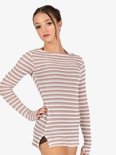 Womens Striped Knit Warm Up Long Sleeve Tunic - Style No N9102