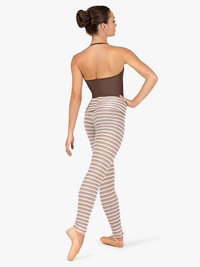 Womens Striped Knit Warm Up Roll Down Leggings - Style No N9104