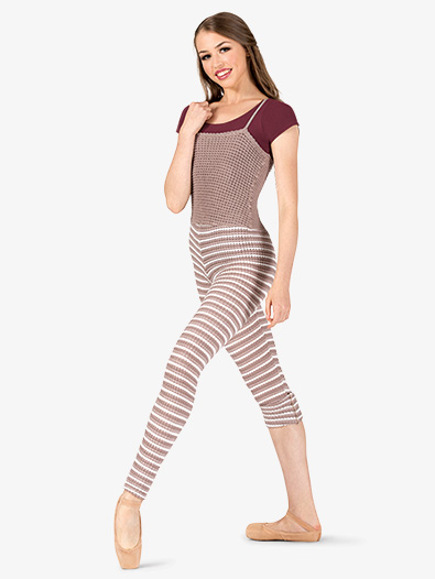 Womens Striped Knit Warm Up Camisole Overalls - Style No N9106