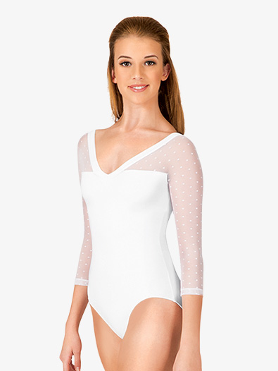 Adult Dot Mesh 3/4 Sleeve Leotard - Style No NC8821x