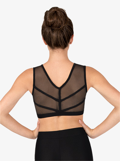 Womens Mesh Binding V-Back Dance Tank Bra Top - Style No NC8912x