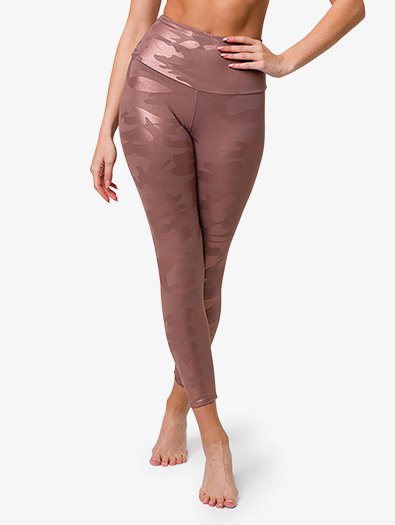 Womens Foil High-Rise Midi Workout Leggings - Style No OZ2029F
