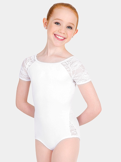 Girls Tiler Peck Lace Short Sleeve Leotard - Style No P1082C