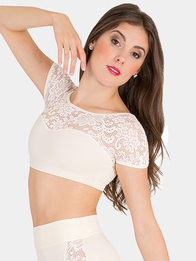 Womens Tiler Peck Lace Short Sleeve Dance Crop Top - Style No P1102