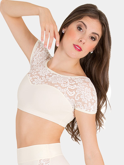 Girls Tiler Peck Lace Short Sleeve Dance Crop Top - Style No P1102C