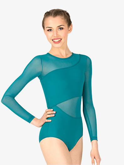 Womens Asymmetrical Mesh Long Sleeve Leotard - Style No P719Ax