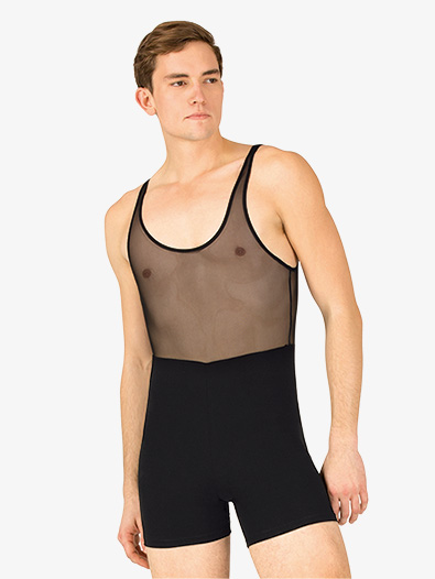 Mens Dance Mesh Tank Shorty Unitard - Style No P737M