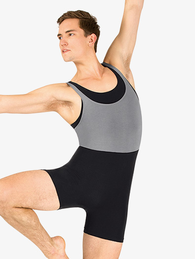 Mens Dance Layered Tank Shorty Unitard - Style No P739M