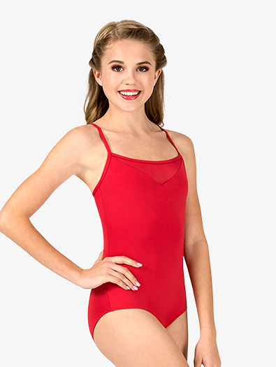 Womens V-Front Mesh Insert Camisole Leotard - Style No P882x