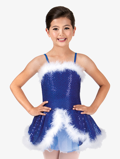 Child Feather-Trimmed Sequin Camisole Costume Dress - Style No PB2000C