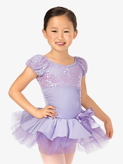 Child Short Sleeve Bustled Sequin Tutu Costume Dress - Style No PB2006Cx