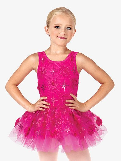 Child Flower Applique Tank Tutu Costume Dress - Style No PB2008C