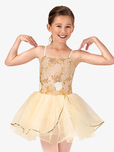 Child Beaded Flower Camisole Tutu Costume Dress - Style No PB2013C
