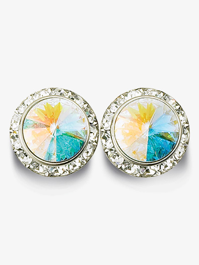 15mm Pierced Earrings with Swarovski Crystals - Style No RU027