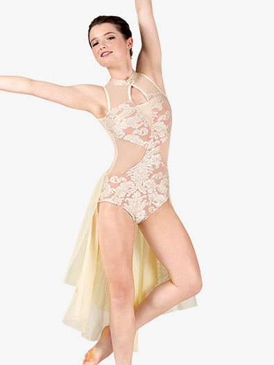 Womens Performance Bustled Romantic Lace Leotard - Style No RV305A