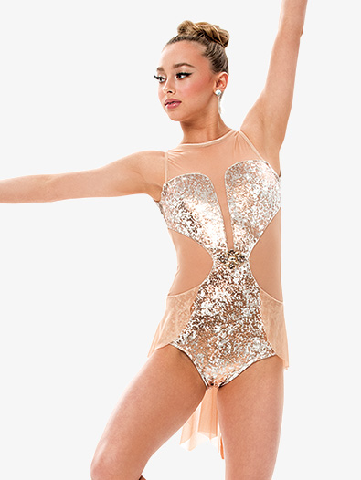 Girls/Womens Metallic Velvet Bustled Leotard - Style No RV6318P