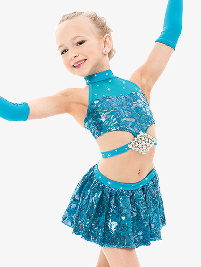 Girls/Womens Sequin 2-Piece Dance Costume Set - Style No RV7225S