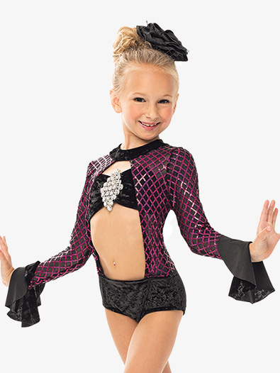 Girls/Womens Diamond Sequin Long Sleeve Leotard - Style No RV8530