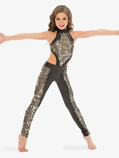 Womens Mock Neck Sequin Insert Performance Unitard - Style No RV8611x