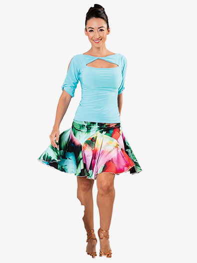 Womens Ruched Tulip Short Ballroom Dance Skirt - Style No S902