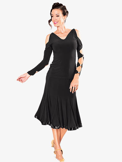 Womens 8-Panel Banded Short Ballroom Dance Skirt - Style No S906