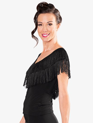 Womens Layered Fringe Short Ballroom Dance Skirt - Style No S922
