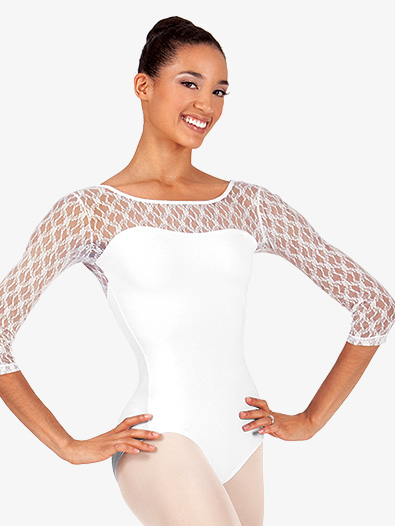 Womens Lace 3/4 Sleeve Compression Leotard - Style No SIL88386