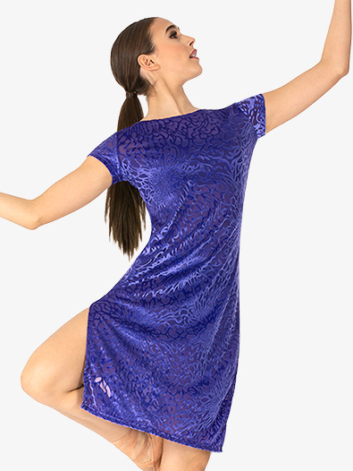 Womens Fantasia Burnout Velvet Short Sleeve Dance Overdress - Style No SK023